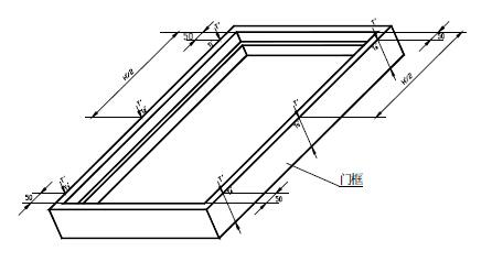 检测值与产品设计图示门框侧壁宽度值相减,结果取其极值.