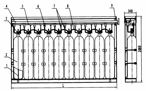 双列气瓶及开启装置组装的结构型式和基本尺寸